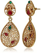 Ava Traditional Drop Earrings for Women (Gold) (E-SD-1207)