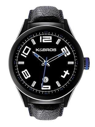 K&BROS 9456-1 / Reloj de Caballero  con correa de piel Negro