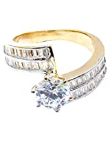 Affinity stylish designer solitaire diamond Gold ring Gold Plated
