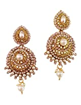 Lalso Gold Plated Designer Stylish White Pearl Earrings For Wedding, Diwali, Festival, Navratri, Party, Gift - LAE17W