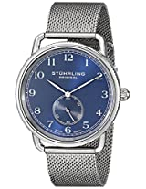 Stuhrling Original Men's 207M.03 Classique Swiss Quartz Blue Dial Stainless Steel Mesh Watch