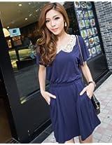 Waist Wrap Short-Sleeve Lace Dress