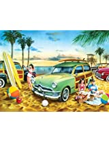 "Jigsaw Puzzle Collectible Tin 500 Pieces 13""X19""-Classics-Beach Wagon Party"