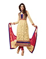 Surat Tex Cream & Red Color Indian Wear Embroidered Jacquard Semi-Stitched Salwar Suit
