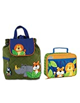 Stephen Joseph Boys Quilted Jungle Animals Backpack and Lunch Box for Kids