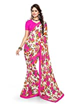 Sourbh Sarees Offwhite And Multicolor Printed Chiffon Best Sarees (with color options) Women Party Wear, Clothing Collection, Diwali Durga Puja Gifts