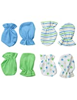 BON BEBE Baby-Boys Newborn 4 Pack Paw Print Mitten Set, Multi, New Born