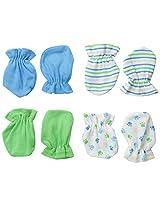 BON BEBE Baby-Boys Newborn 4 Pack Paw Print Mitten Set, Multi, New Born