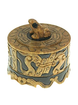 The Niger Bend Small Round Soapstone Box With Frog Top