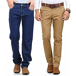 Phoenix Combo Of Men Blue Jeans And Khaki Chinos PHNX4000073