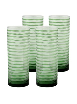 Set of 4 Vienna Highball Glasses, Green