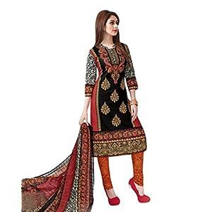 Salwar Studio Red & Black Cotton unstitched churidar kameez with dupatta