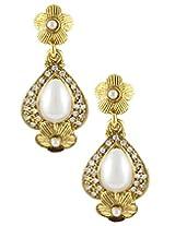 22K Goldplated White Stone Dangle Earings