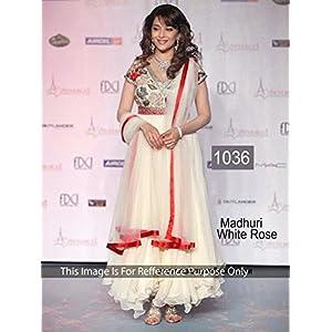 Honeydew Fabrics Madhuri Dixit Anarkali Suit - White