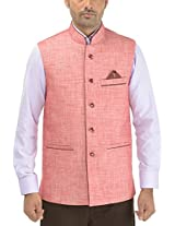 Panache. Men's Round Collar Nehru Coat (P0 90_Reddish Magenta_46, Reddish Magenta, 46)