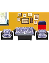 WSB Floral 11 Piece Cotton Sofa Cover Set - Bule 65x57 CM