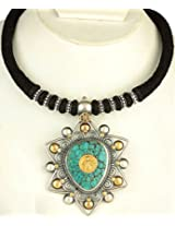 Tribal Kali Turquoise Necklace with Black Cord - Sterling Silver