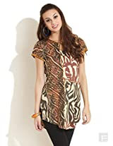 Abstract Printed Kurti With Curved Hem-Brown-Xl