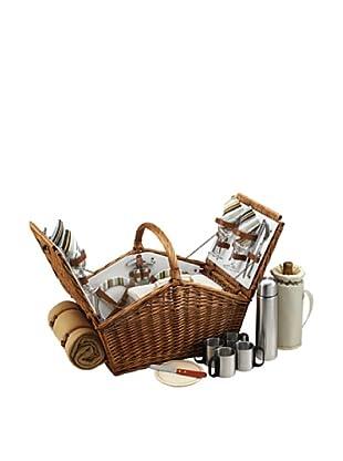 Picnic At Ascot Huntsman Basket for 4 with Coffee Set & Blanket -Santa Cruz