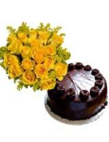15 Yellow Roses with Chocolate Cake