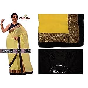 Madhuri Dixit Chiffon Embroidered Yellow Bollywood Style Saree - M5