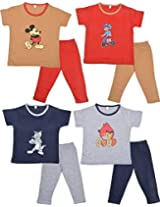 Autumn Splaash Unisex Kids T shirt and Full Pant - Pack of 4 (Multi-Coloured, 2 - 3 Years)