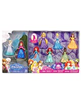 8-PC Doll Gift Set: 3.75 Inch Disney Princess, featuring Anna and Elsa from Frozen