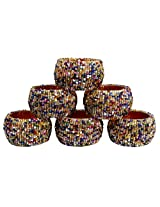 Set of 6 - Napkin Rings Multicolor Beads Round Napkin Rings for Wedding Party Holiday Dinner - Dia 2.5 Inches