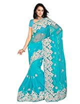 Sehgall Saree Indian Bollywood Designer Ethnic Professional Net Saree With Foam Embroidery Blue
