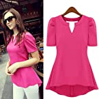 Hot Pink Polyester Half Sleeve Top