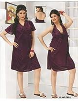 Odishabazaar Women's Silk Satin Nighty Overcoat Wine 2pc Set Sleepwear Nightwear Sexy Dress-Free Size