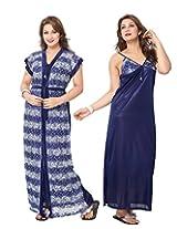 KuuKee Women's Satin Navy Colored Nightwear (10040_Navy_L)