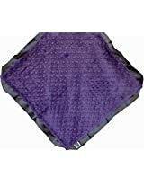 "Cozy Wozy Signature Minky Lovie Sized Baby Blanket with Satin Trim Lovie, Purple/Charcoal Gray, 18"" x 18"""