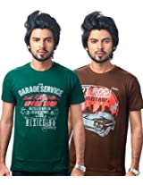 UK Tribes Men's Green-Brown Pack Of 2 T Shirts Small