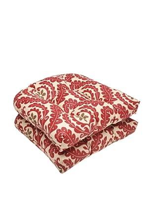 Waverly Sun-n-Shade Set of 2 Meridian Henna Wicker Seat Cushion (Red/Brown/Tan)