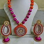 Orange and pink Silk thread necklaces set and leaf jumka