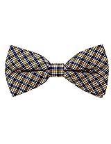 Scott Allan Men's 100% Silk Checkered Plaid Bow Tie - Orange/Navy Blue
