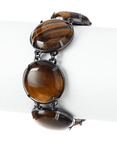Tuleste Market Circle Bracelet, Gunmetal/Tiger Eye