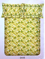Bombay Dyeing Mistyrose 120 TC Polycotton Double Bedsheet with 2 Pillow Covers - Green