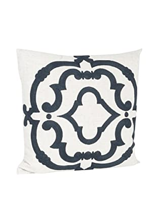 Saro Lifestyle Navy Blue Embroidered Design Pillow