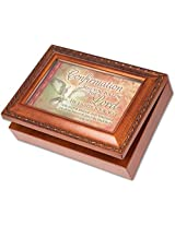 Confirmation Cottage Garden Wood Grain Finish Jewelry Music Box - Plays Song Ave Maria