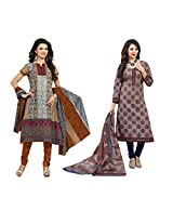Rajnandini Combo of cotton Printed Unstitched salwar suit Dress Material (Orange & Yellow _Free Size)