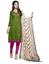 Shree Vardhman Green Super Net Straight Unstiched Salwar Suit Dress Material