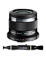 Olympus M. Zuiko Digital ED 45mm f1.8 Lens for Olympus and Panasonic Micro 4/3 Cameras + Lenspen NLP-1 Cleaning Brush (Black)