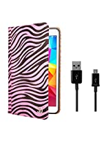 VG Zebra Print Mary Portfolio Multi Purpose Book Style Slim Flip Cover Case for Samsung Galaxy Tab4 T330/T331 8.0 (Pink) + Data Cable