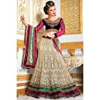 Net and Dhupion and Velvet Lehenga In Beige and Pink Colour 1317