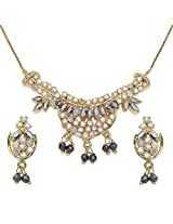 12.70 Grams Black Cubic Zirconia & White Cubic Zirconia Gold Plated Brass Pendant Set