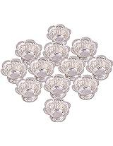 Jaipur Trade Silver Plated Diya (13 cm x 13 cm x 1.5 cm, Silver, Pack of 12)