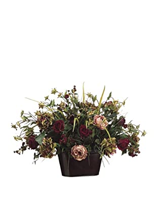 Hydrangea, Rose and Grass in Tin Container