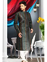 Maroon, Green and Yellow Poly Cotton Kurta With Churidar